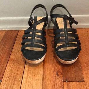 """SO Shoes - Kids black wedge heel 2"""""""